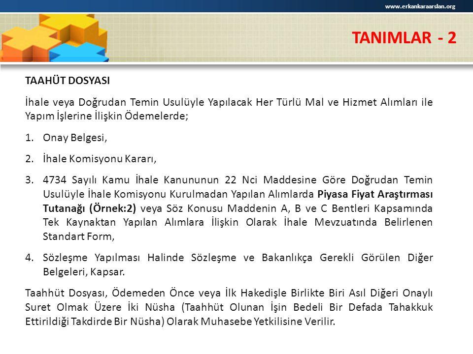 TANIMLAR - 2 TAAHÜT DOSYASI
