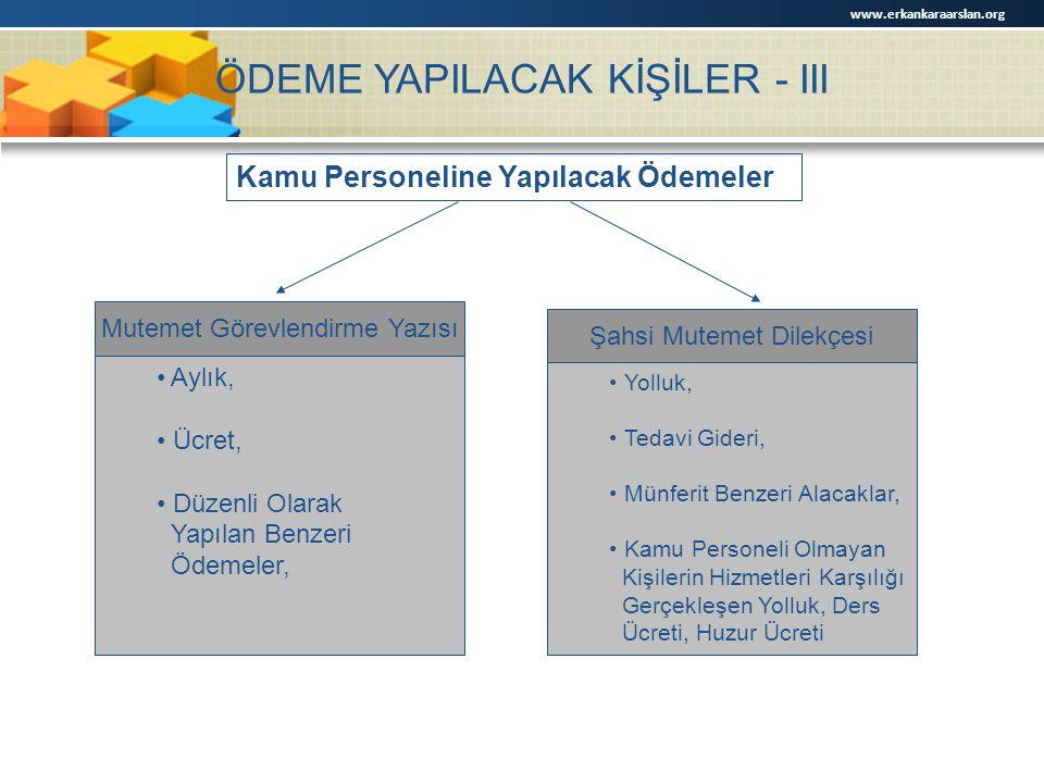 ÖDEME YAPILACAK KİŞİLER - III