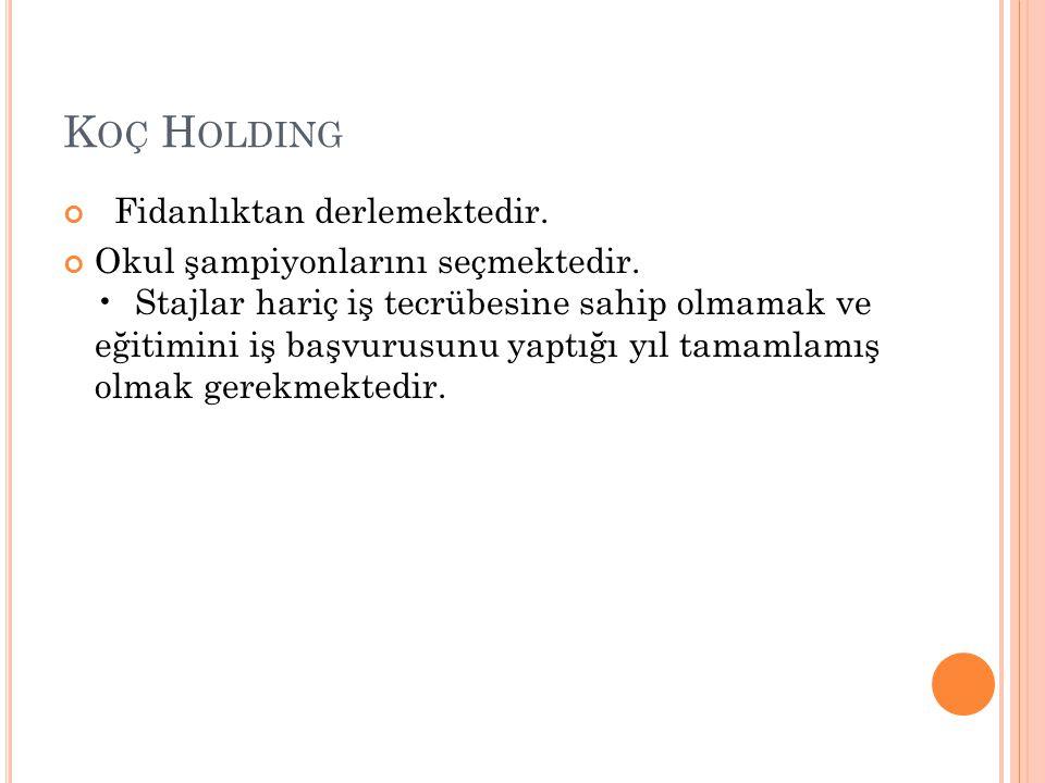 Koç Holding Fidanlıktan derlemektedir.