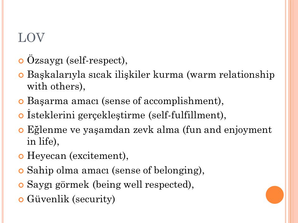 LOV Özsaygı (self-respect),
