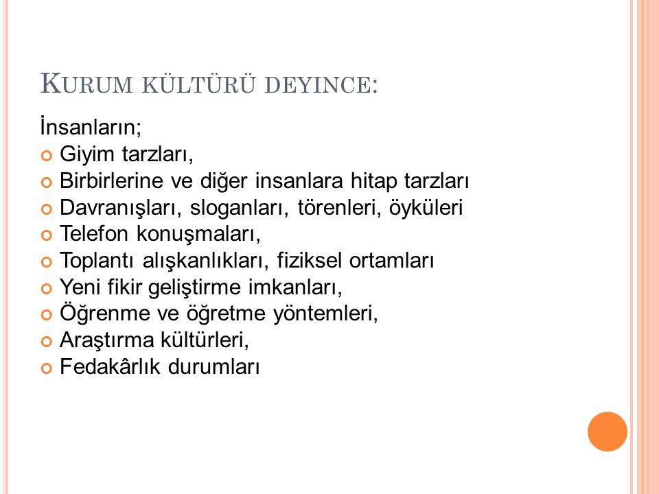 Kurum kültürü deyince: