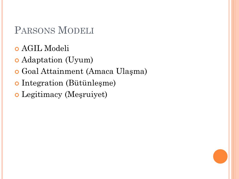 Parsons Modeli AGIL Modeli Adaptation (Uyum)