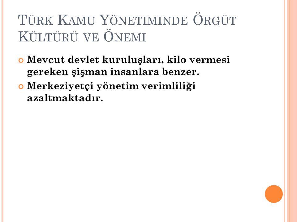 Türk Kamu Yönetiminde Örgüt Kültürü ve Önemi
