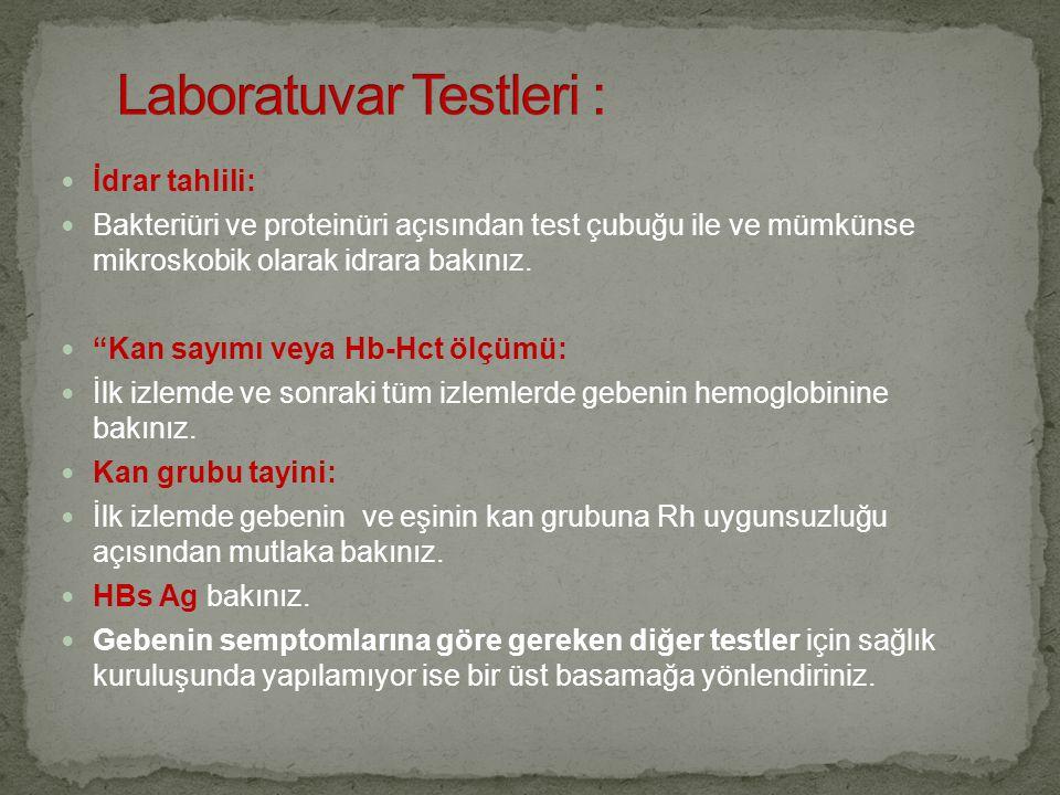 Laboratuvar Testleri :