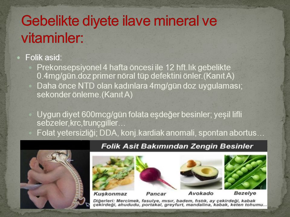 Gebelikte diyete ilave mineral ve vitaminler: