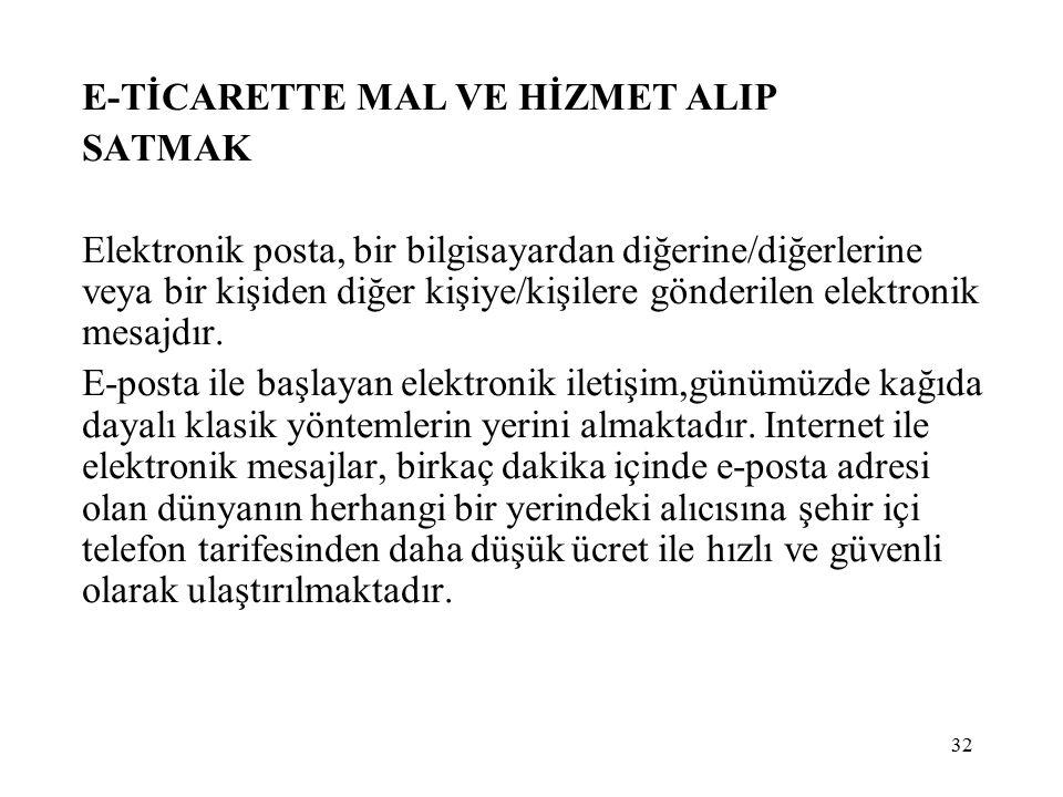 E-TİCARETTE MAL VE HİZMET ALIP