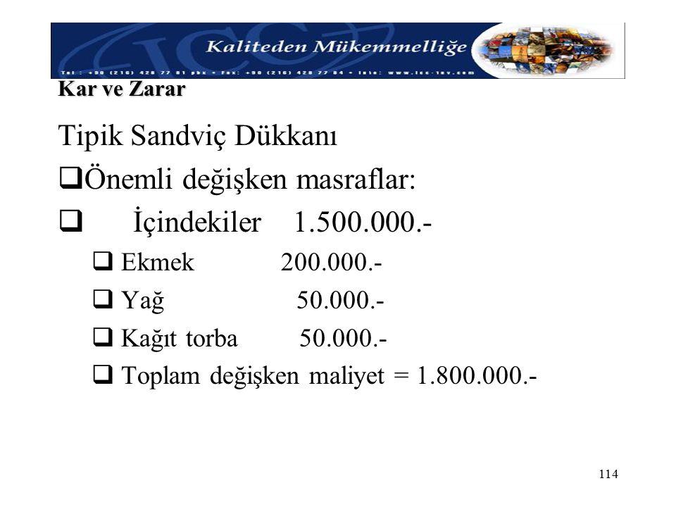 Önemli değişken masraflar: İçindekiler 1.500.000.-