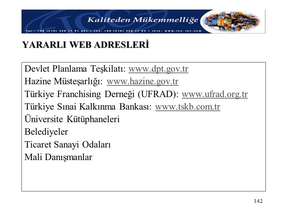 YARARLI WEB ADRESLERİ Devlet Planlama Teşkilatı: www.dpt.gov.tr. Hazine Müsteşarlığı: www.hazine.gov.tr.