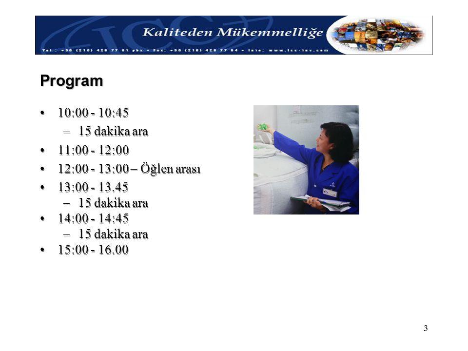 Program 10:00 - 10:45 15 dakika ara 11:00 - 12:00