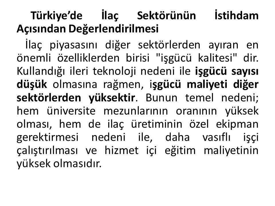 Türkiye'de İlaç Sektörünün İstihdam Açısından Değerlendirilmesi İlaç piyasasını diğer sektörlerden ayıran en önemli özelliklerden birisi işgücü kalitesi dir.