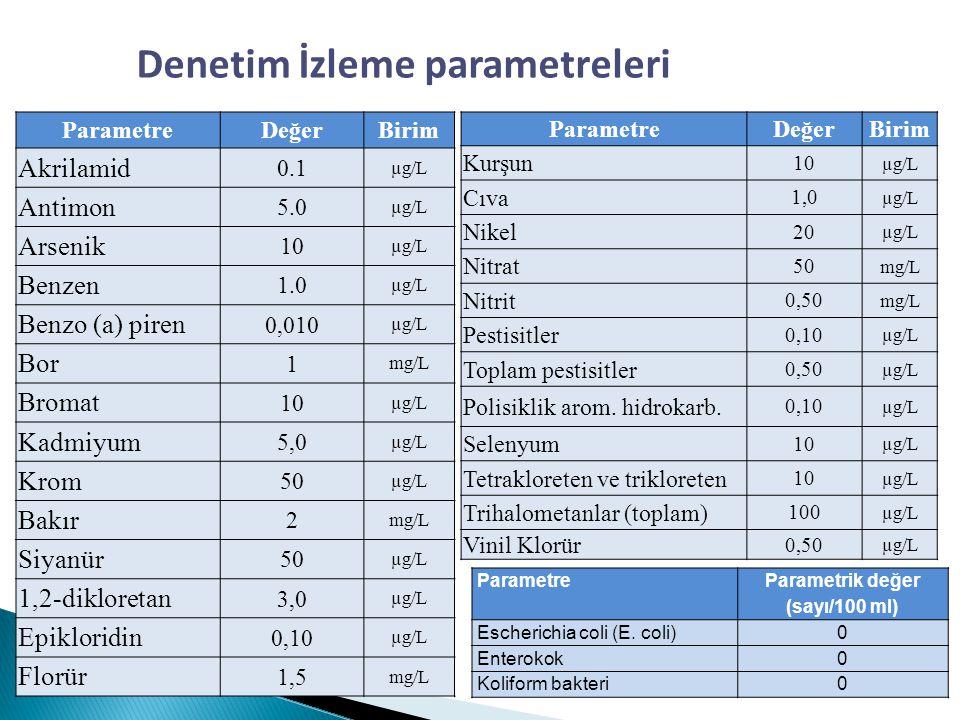 Denetim İzleme parametreleri Parametrik değer (sayı/100 ml)