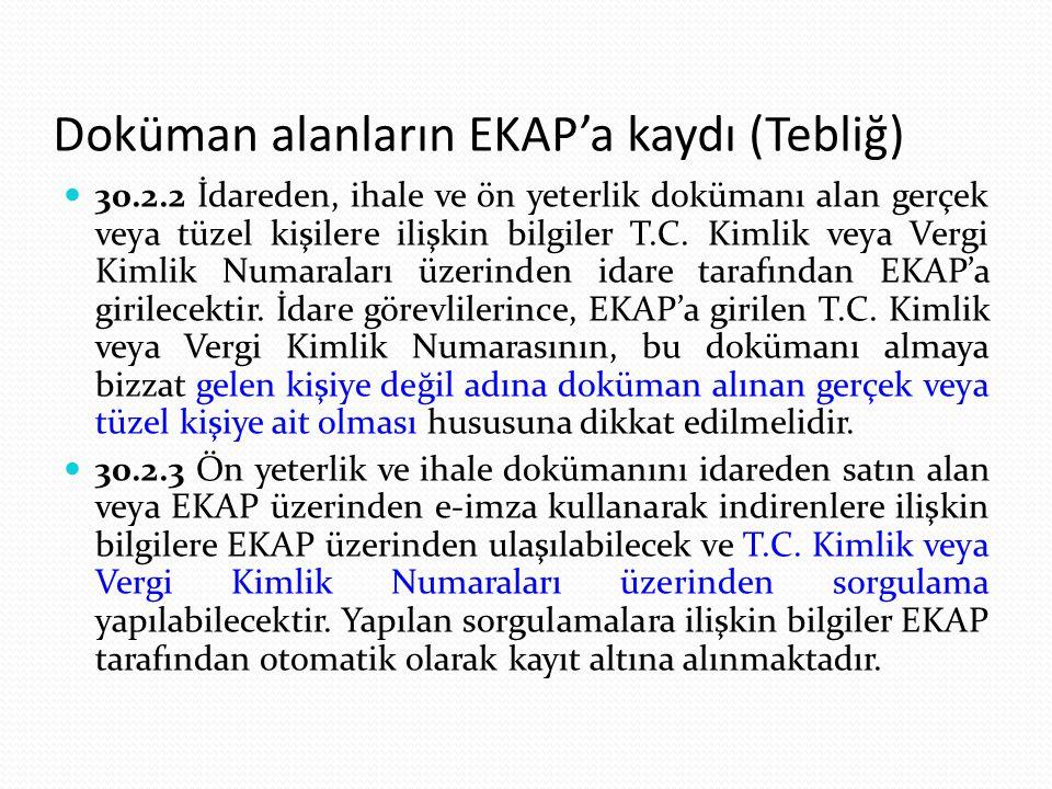 Doküman alanların EKAP'a kaydı (Tebliğ)