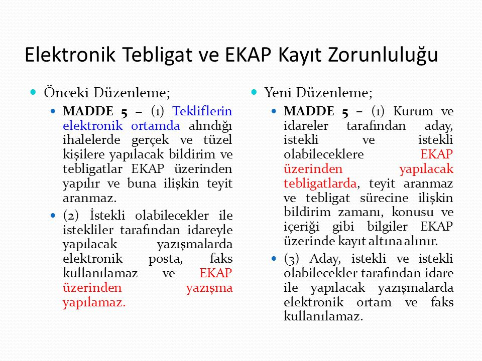 Elektronik Tebligat ve EKAP Kayıt Zorunluluğu