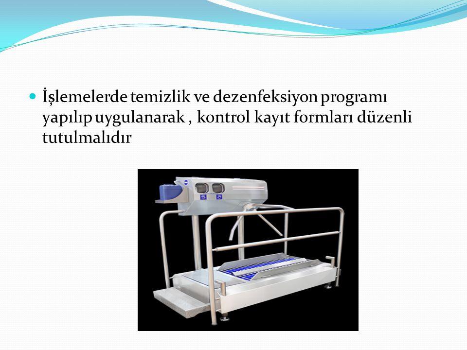 İşlemelerde temizlik ve dezenfeksiyon programı yapılıp uygulanarak , kontrol kayıt formları düzenli tutulmalıdır