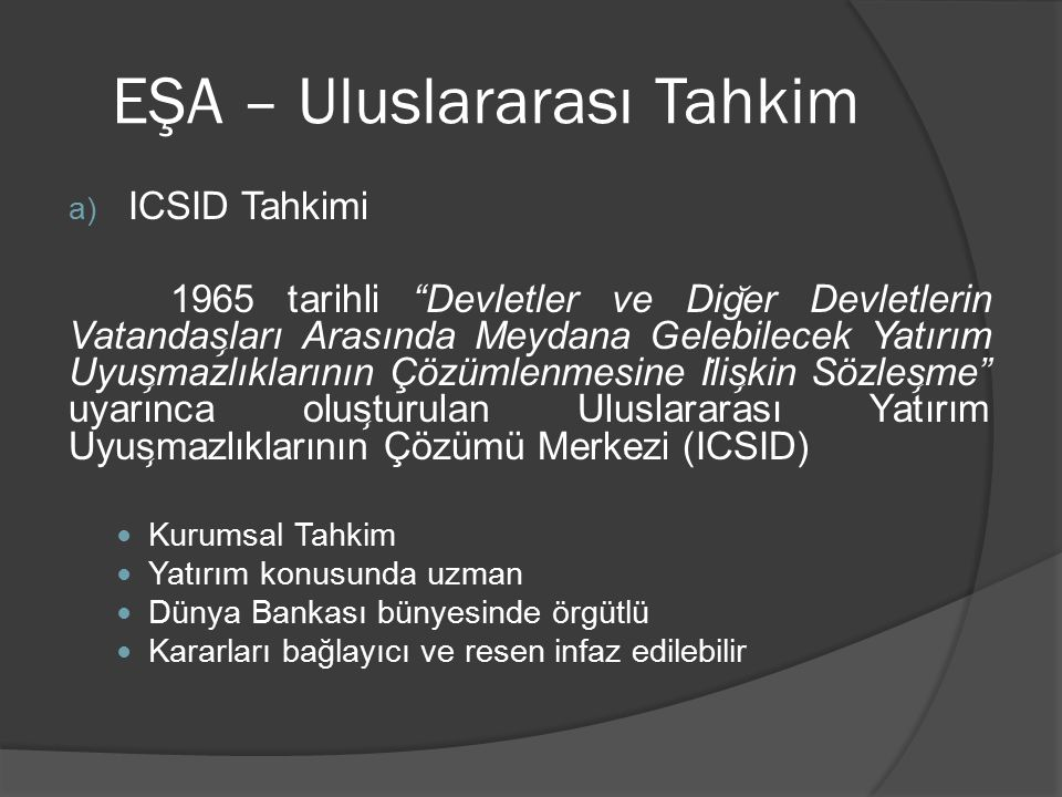 EŞA – Uluslararası Tahkim