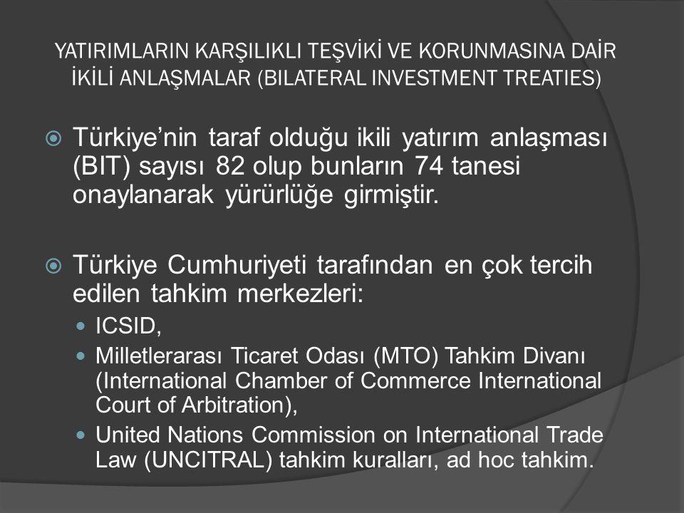 Türkiye Cumhuriyeti tarafından en çok tercih edilen tahkim merkezleri:
