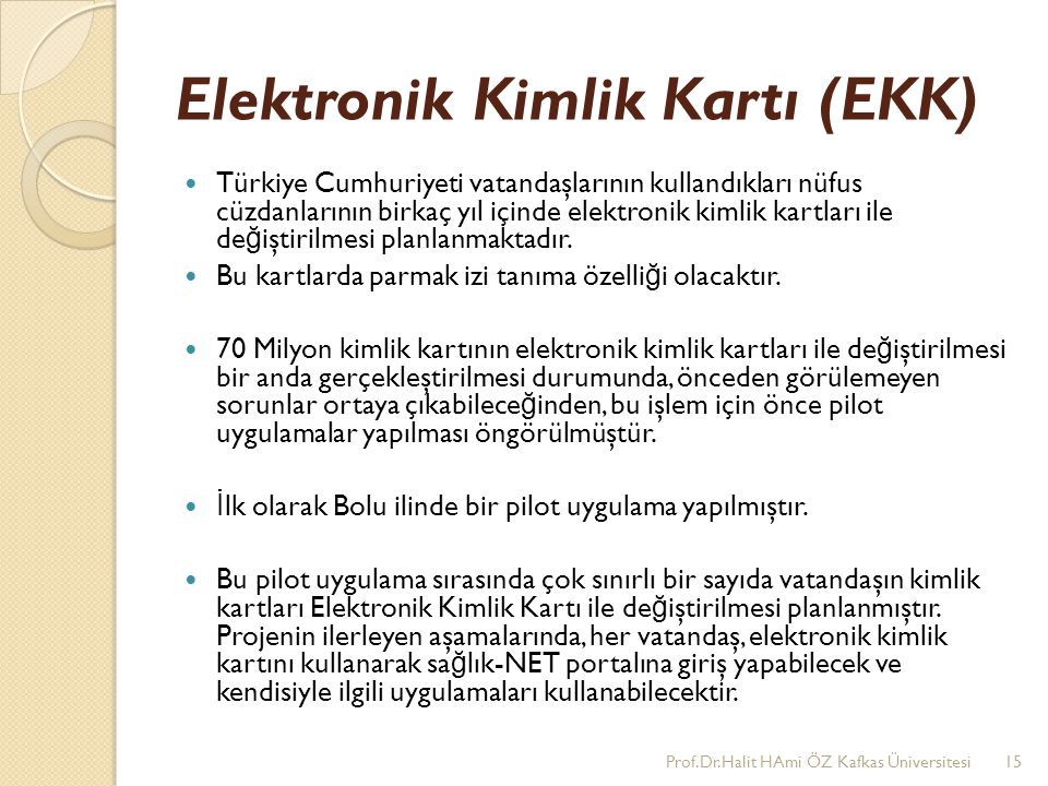 Elektronik Kimlik Kartı (EKK)