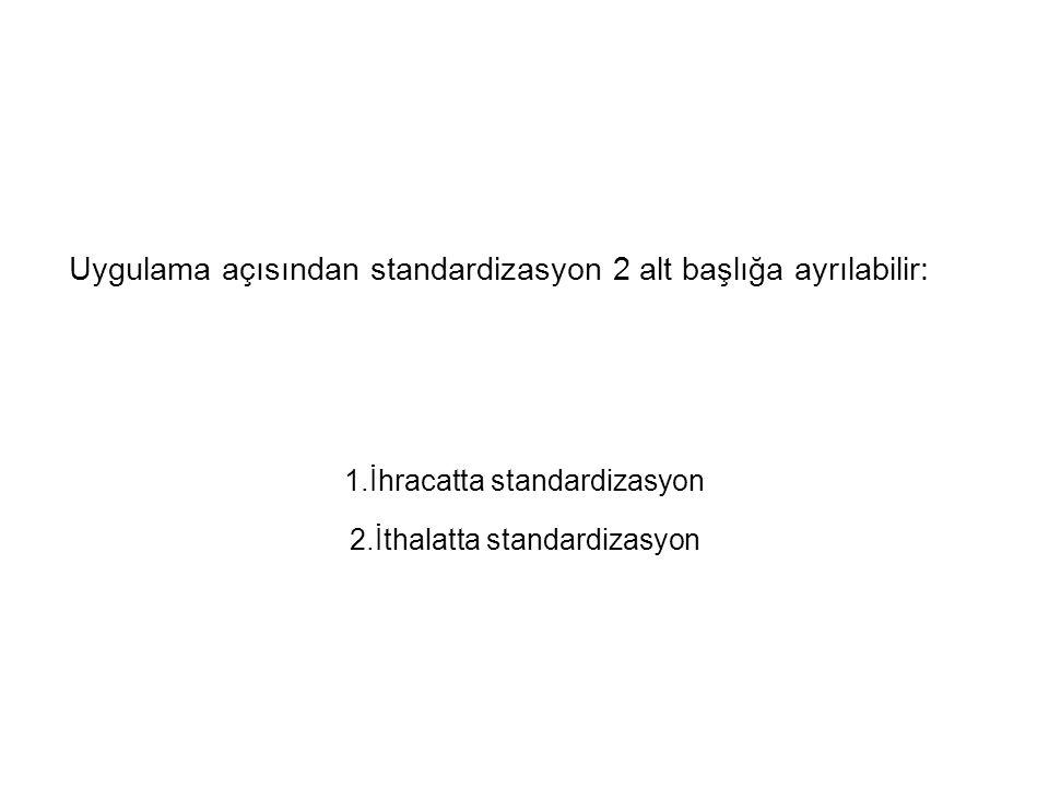 Uygulama açısından standardizasyon 2 alt başlığa ayrılabilir: