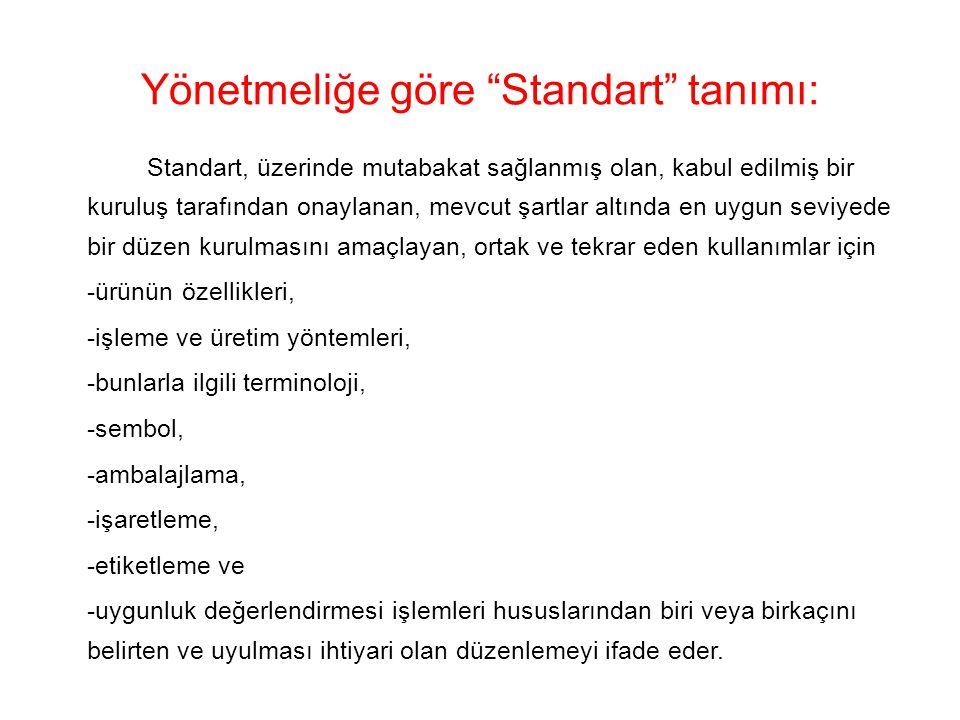 Yönetmeliğe göre Standart tanımı: