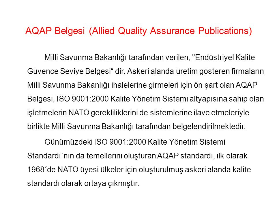 AQAP Belgesi (Allied Quality Assurance Publications)