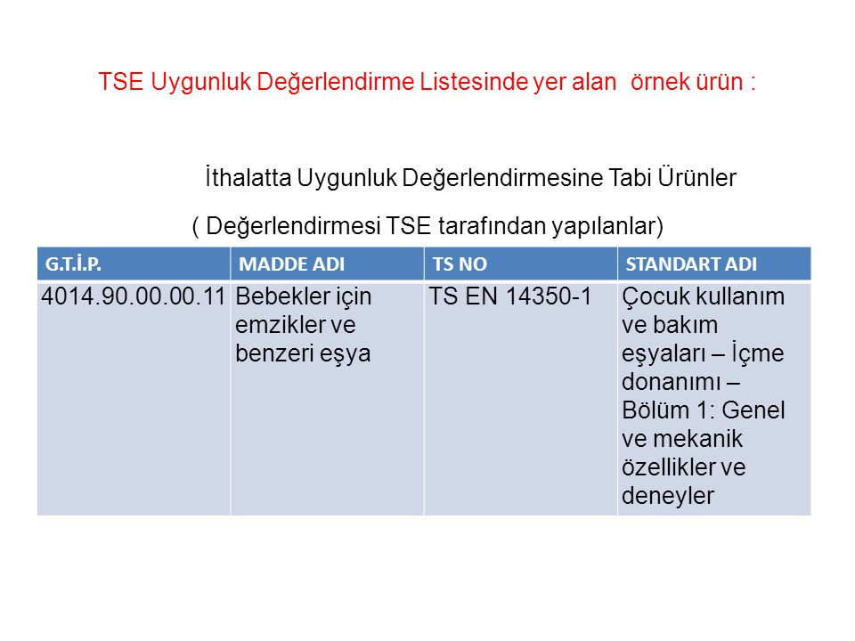 TSE Uygunluk Değerlendirme Listesinde yer alan örnek ürün :