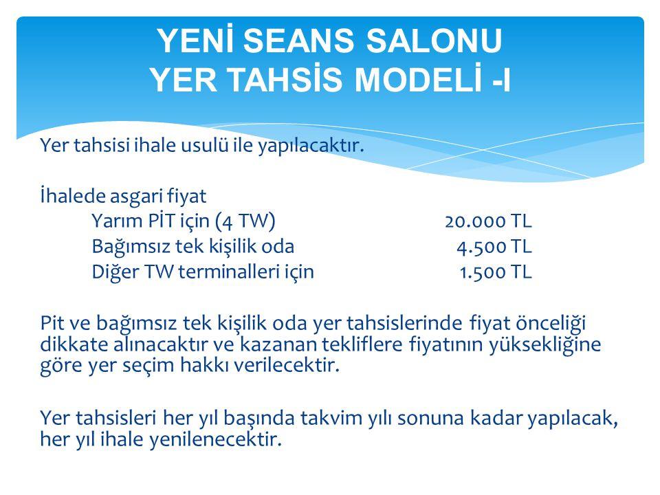 YENİ SEANS SALONU YER TAHSİS MODELİ -I