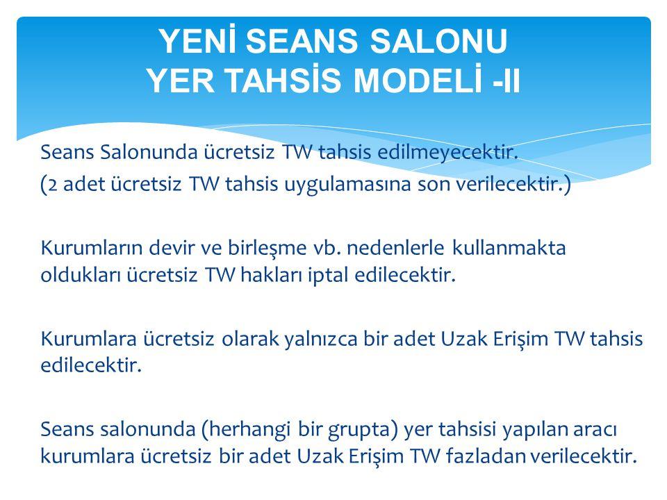 YENİ SEANS SALONU YER TAHSİS MODELİ -II