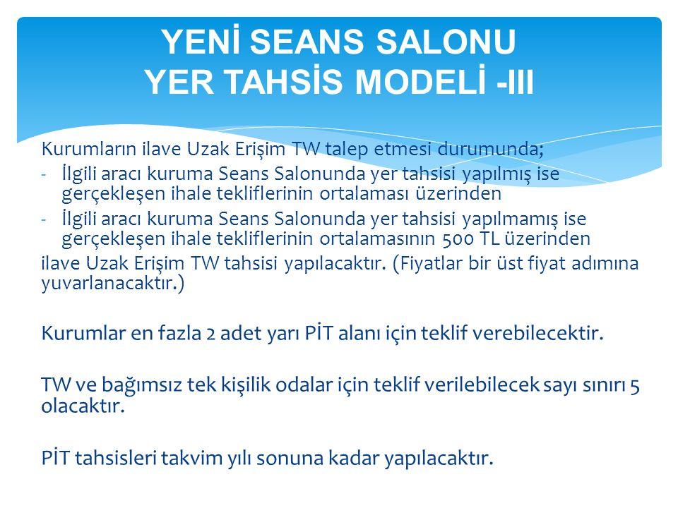 YENİ SEANS SALONU YER TAHSİS MODELİ -III