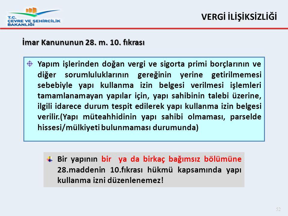 VERGİ İLİŞİKSİZLİĞİ İmar Kanununun 28. m. 10. fıkrası