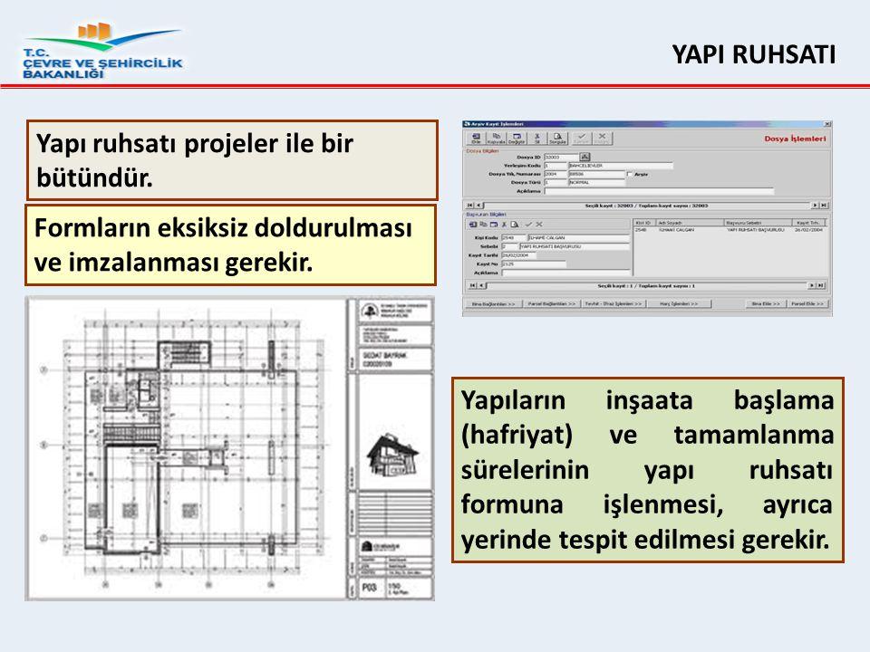 YAPI RUHSATI Yapı ruhsatı projeler ile bir bütündür. Formların eksiksiz doldurulması ve imzalanması gerekir.