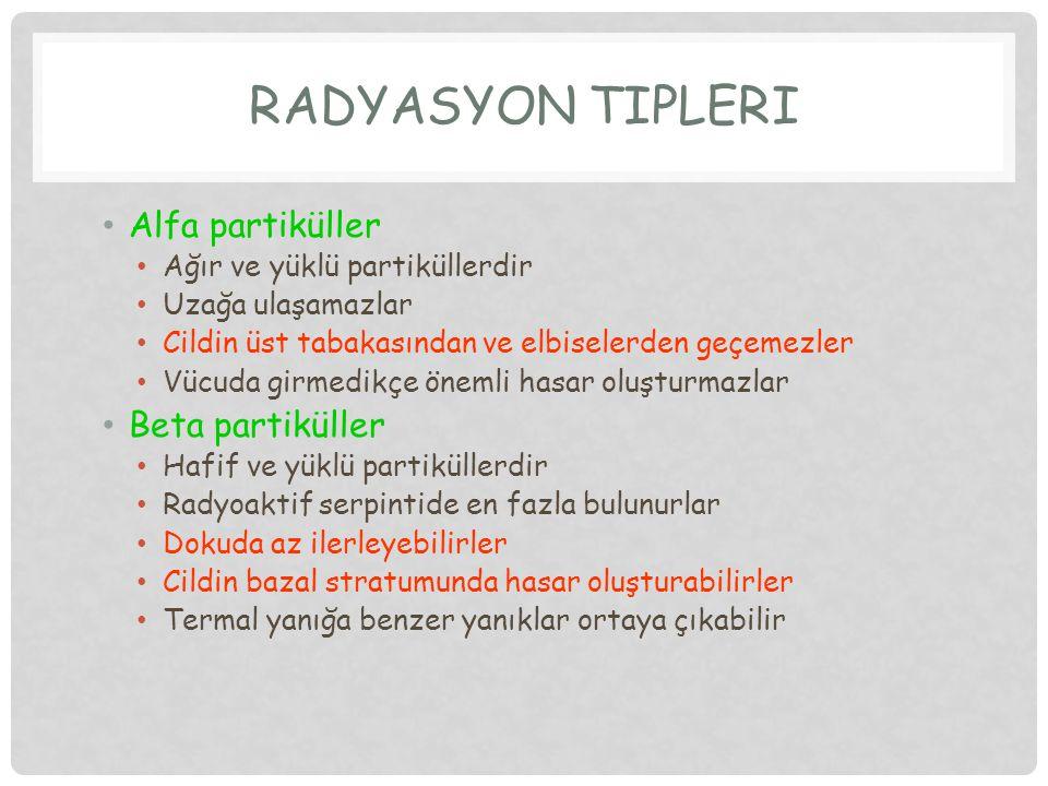 RADYASYON TİPLERİ Alfa partiküller Beta partiküller