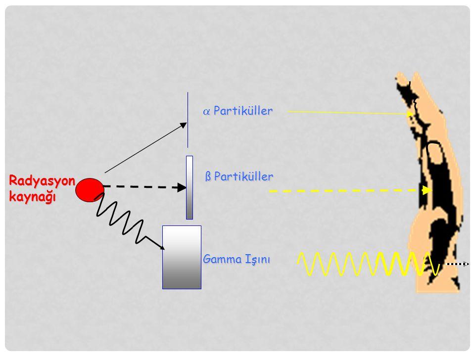  Partiküller ß Partiküller Radyasyon kaynağı Gamma Işını