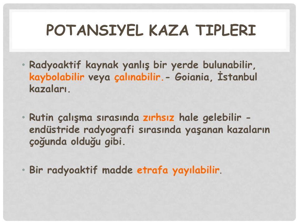 POTANSİYEL KAZA TİPLERİ