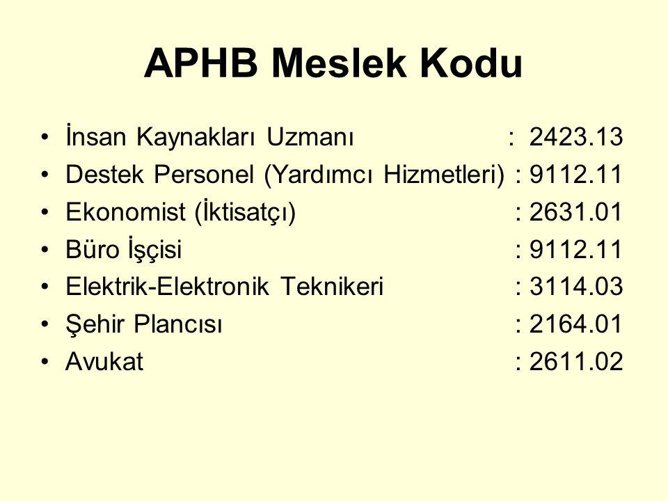 APHB Meslek Kodu İnsan Kaynakları Uzmanı : 2423.13