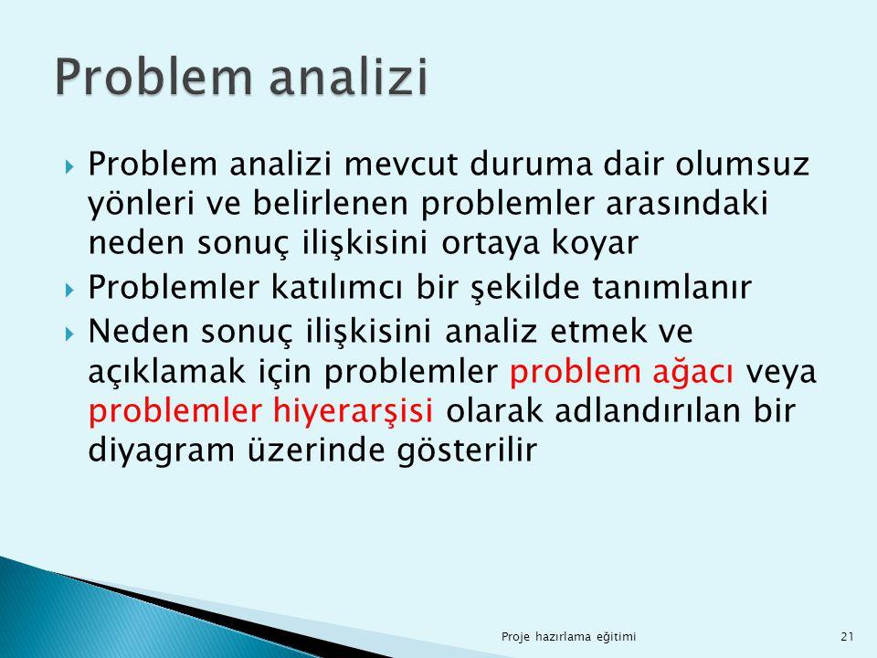 Problem analizi Problem analizi mevcut duruma dair olumsuz yönleri ve belirlenen problemler arasındaki neden sonuç ilişkisini ortaya koyar.