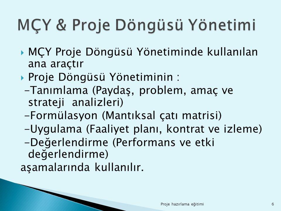 MÇY & Proje Döngüsü Yönetimi