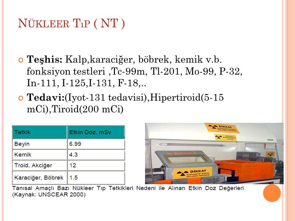 Nükleer Tıp ( NT ) Teşhis: Kalp,karaciğer, böbrek, kemik v.b. fonksiyon testleri ,Tc-99m, Tl-201, Mo-99, P-32, In-111, I-125,I-131, F-18,..