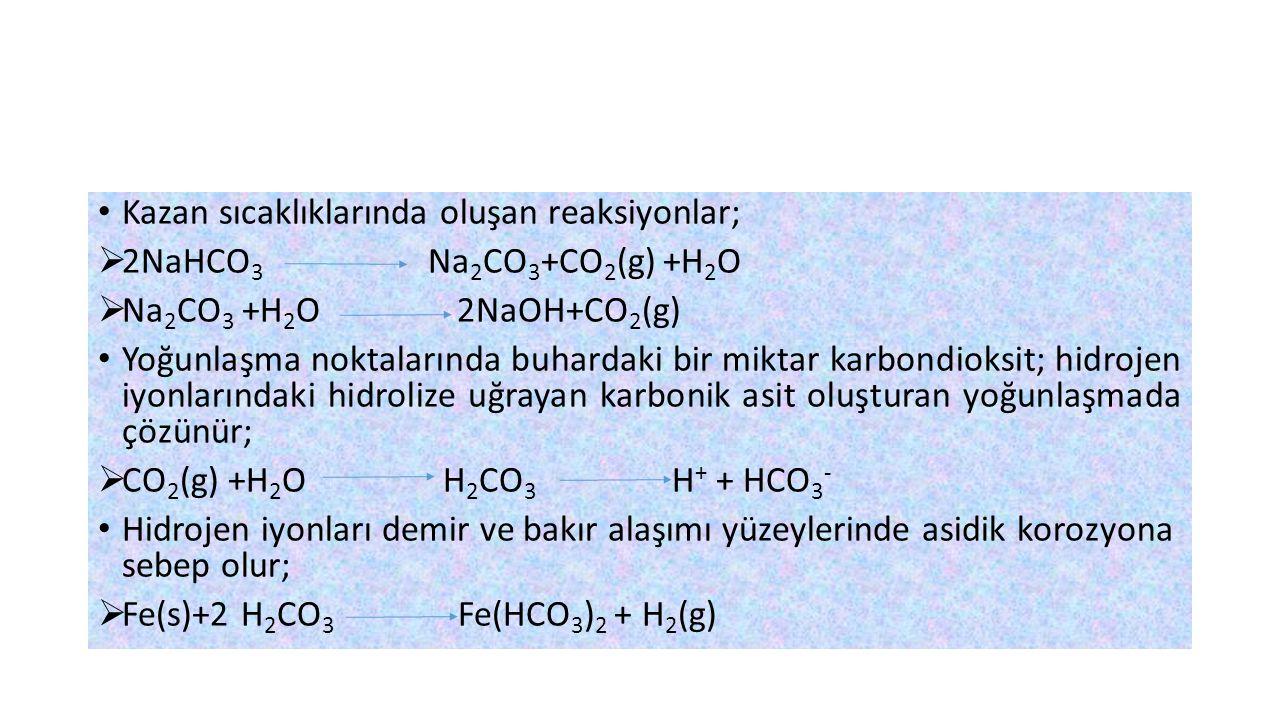 Kazan sıcaklıklarında oluşan reaksiyonlar;