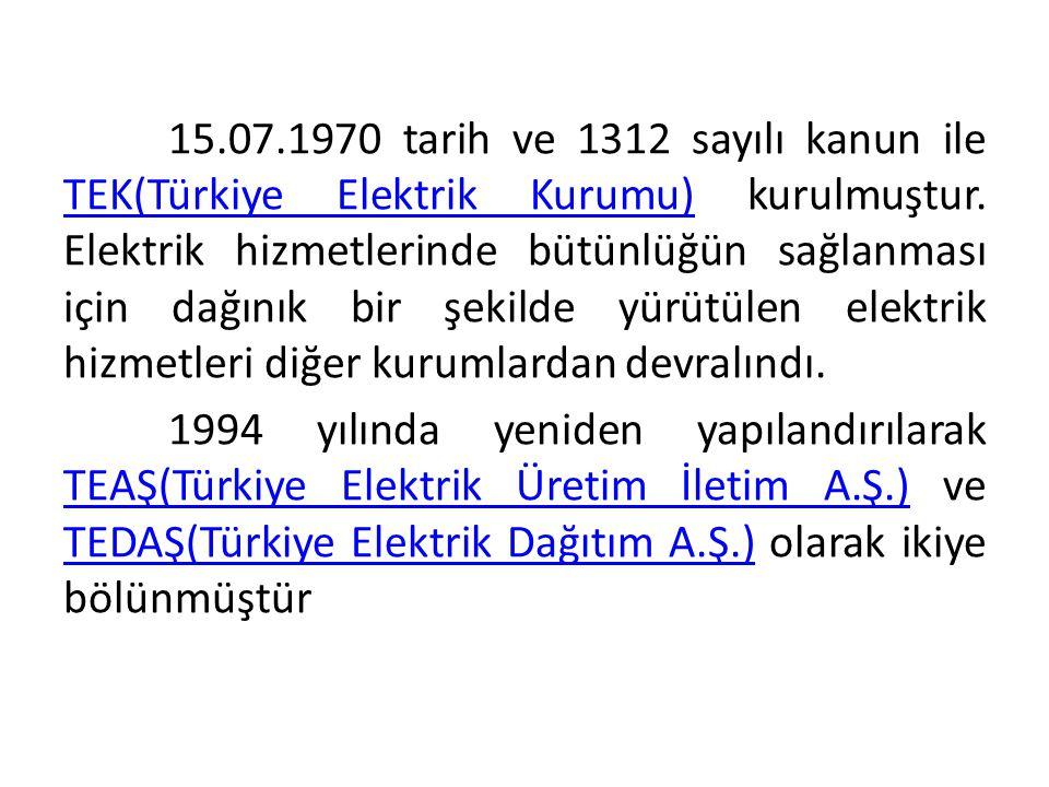 15.07.1970 tarih ve 1312 sayılı kanun ile TEK(Türkiye Elektrik Kurumu) kurulmuştur. Elektrik hizmetlerinde bütünlüğün sağlanması için dağınık bir şekilde yürütülen elektrik hizmetleri diğer kurumlardan devralındı.
