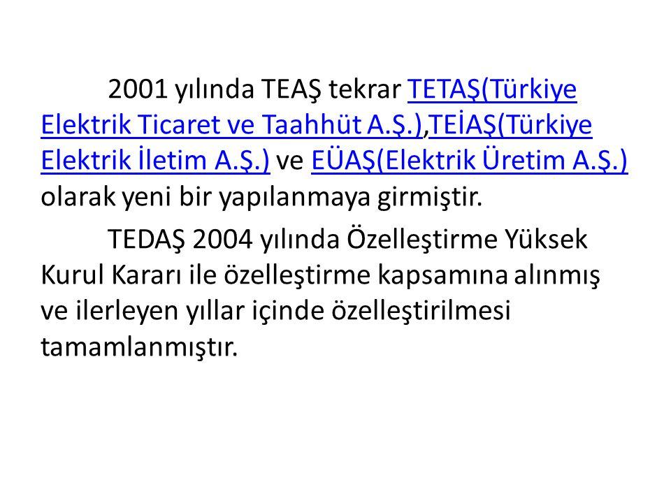 2001 yılında TEAŞ tekrar TETAŞ(Türkiye Elektrik Ticaret ve Taahhüt A.Ş.),TEİAŞ(Türkiye Elektrik İletim A.Ş.) ve EÜAŞ(Elektrik Üretim A.Ş.) olarak yeni bir yapılanmaya girmiştir.