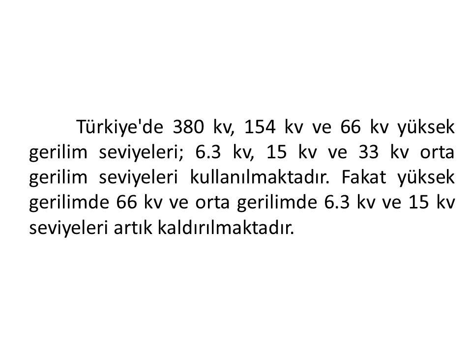 Türkiye de 380 kv, 154 kv ve 66 kv yüksek gerilim seviyeleri; 6
