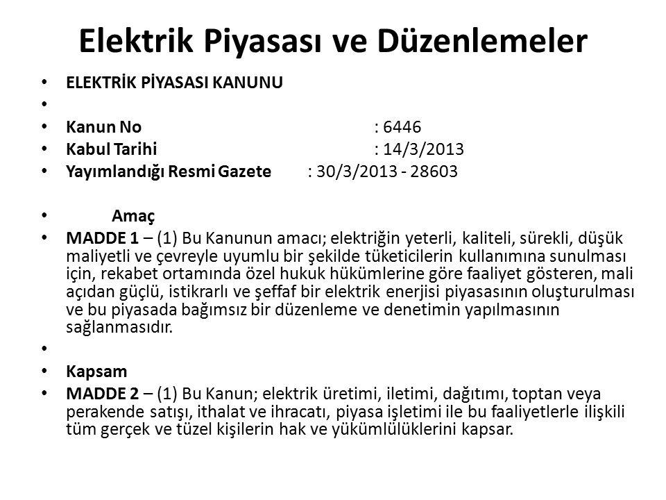 Elektrik Piyasası ve Düzenlemeler