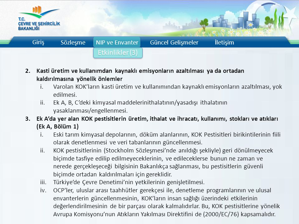 Etkinlikler (3) Giriş Sözleşme NIP ve Envanter Güncel Gelişmeler