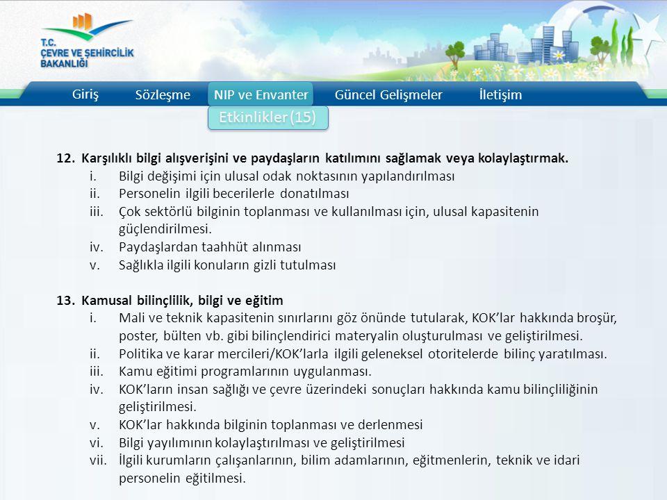 Etkinlikler (15) Giriş Sözleşme NIP ve Envanter Güncel Gelişmeler