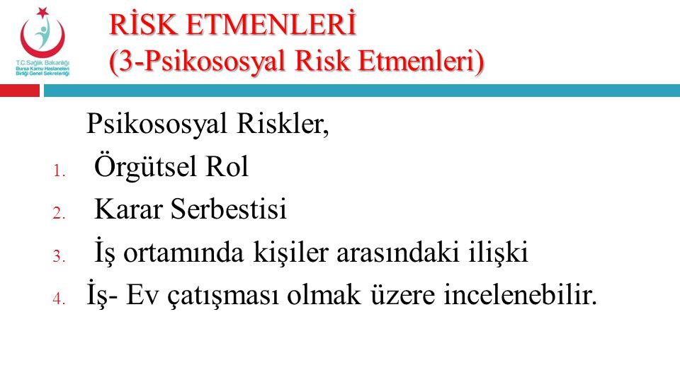 RİSK ETMENLERİ (3-Psikososyal Risk Etmenleri)