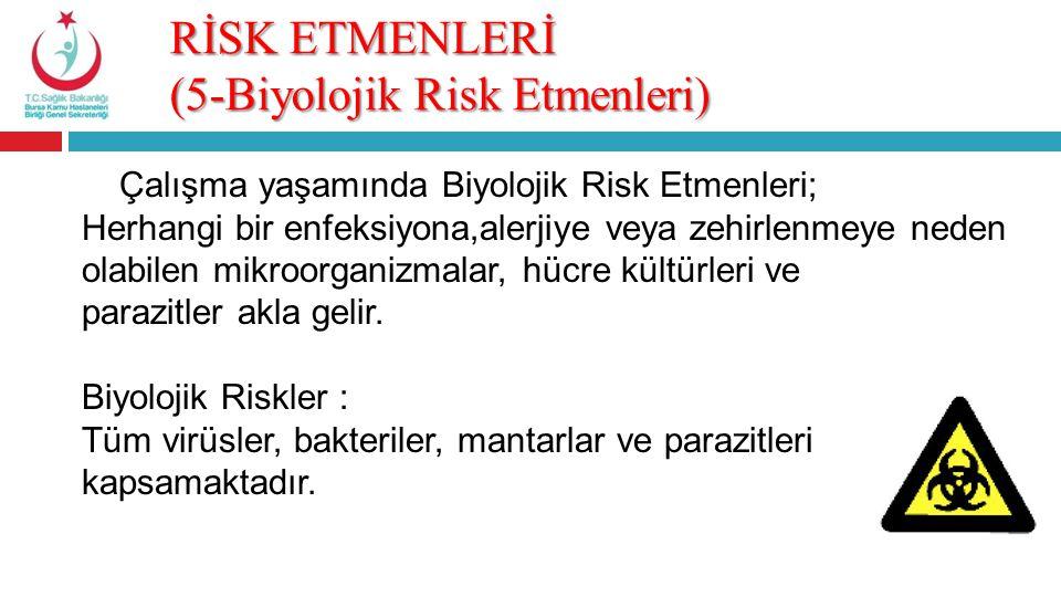 RİSK ETMENLERİ (5-Biyolojik Risk Etmenleri)