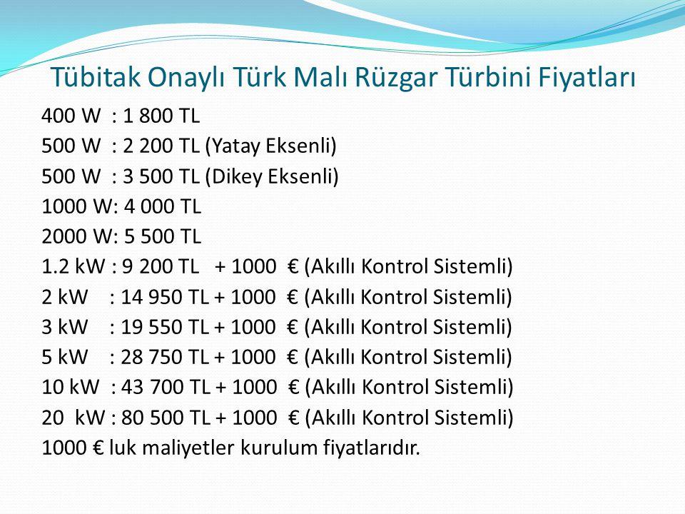 Tübitak Onaylı Türk Malı Rüzgar Türbini Fiyatları
