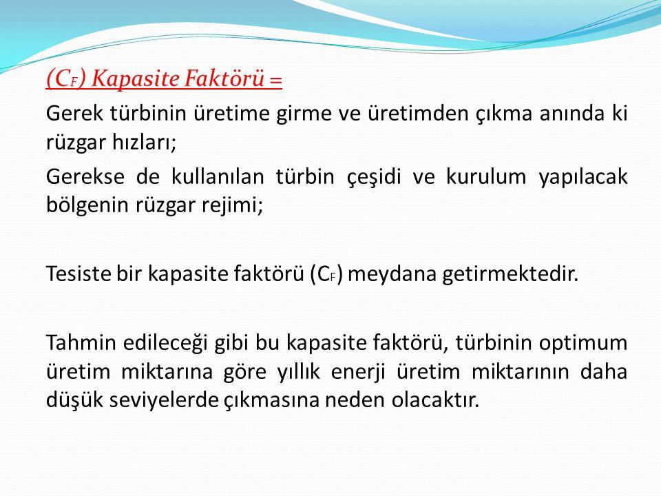 (CF) Kapasite Faktörü = Gerek türbinin üretime girme ve üretimden çıkma anında ki rüzgar hızları; Gerekse de kullanılan türbin çeşidi ve kurulum yapılacak bölgenin rüzgar rejimi; Tesiste bir kapasite faktörü (CF) meydana getirmektedir.
