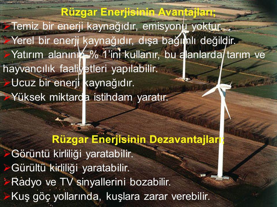 Rüzgar Enerjisinin Avantajları; Rüzgar Enerjisinin Dezavantajları;
