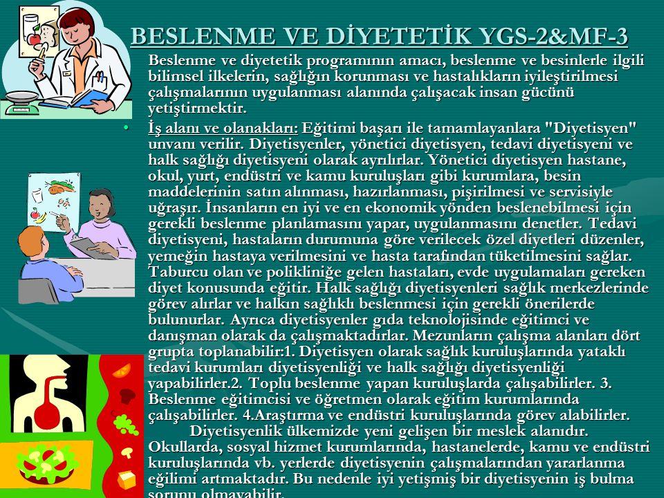BESLENME VE DİYETETİK YGS-2&MF-3